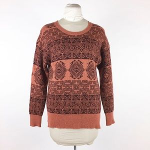 Roots Brown Pullover Sweater Sz L Wool Blend
